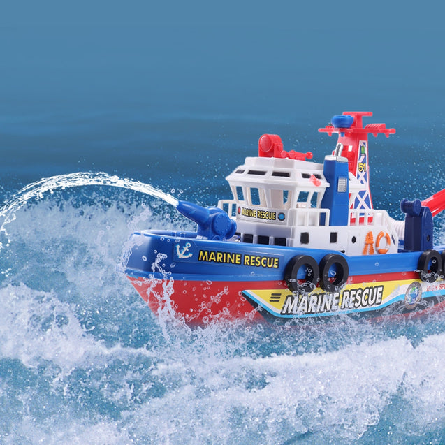 Coupcou.com: High Speed Music Light Electric Marine Rescue Fire Fighting Boat Non-remote Toy
