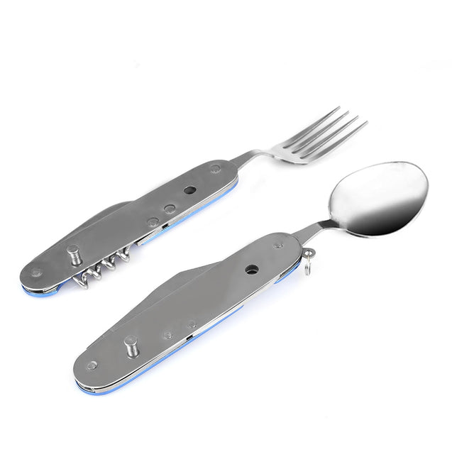Coupcou.com: Multifunctional 6 in 1 Stainless Steel Folding Knife Spoon Fork