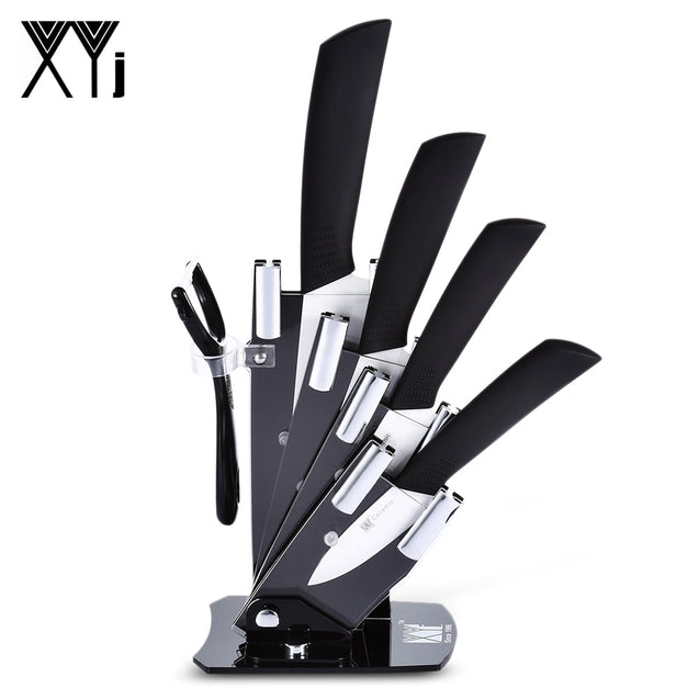 Coupcou.com: xyj 6 in 1 Kitchen Fruit Vegetable Paring Kit Slip-proof Handle Ceramic Knives with Peeler Holder