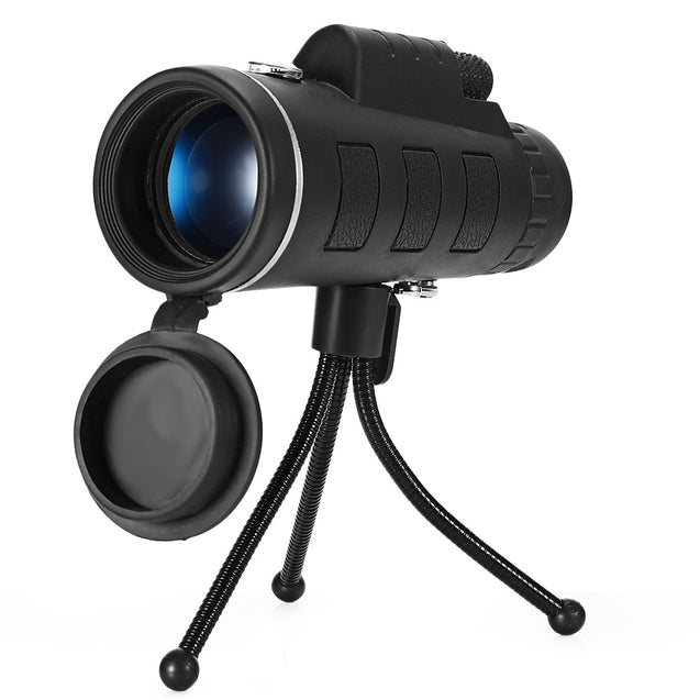 Coupcou.com: 40X60 Monocular Telescope HD Prism Scope with Compass Phone Clip Tripod