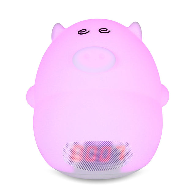 Coupcou.com: Cute Pig Soft Silicone 7 Colors Alarm Clock LED Night Light Wake Up Lamp for Kids Bedroom Tap Control Temperature Display