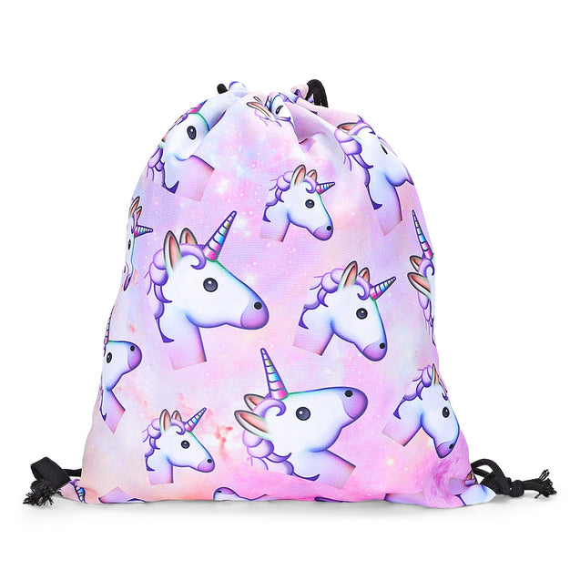 Coupcou.com: Guapabien Traveling Girls 3D Unicorn Print Drawstring Backpack Cinch Bag Sackpack