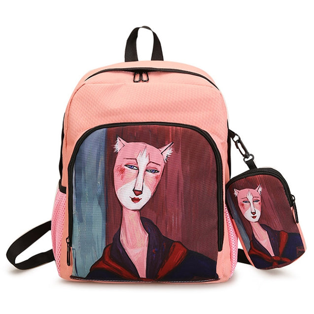 Coupcou.com: Hand Painting Side Pockets 2 Pieces Backpack Set