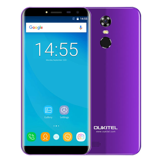 Coupcou.com: OUKITEL C8 3G Phablet 5.5 inch 2.5D Arc Screen Android 7.0 MTK6580A 1.3GHz Quad Core 2GB RAM 16GB ROM Fingerprint Scanner 8.0MP Rear Camera