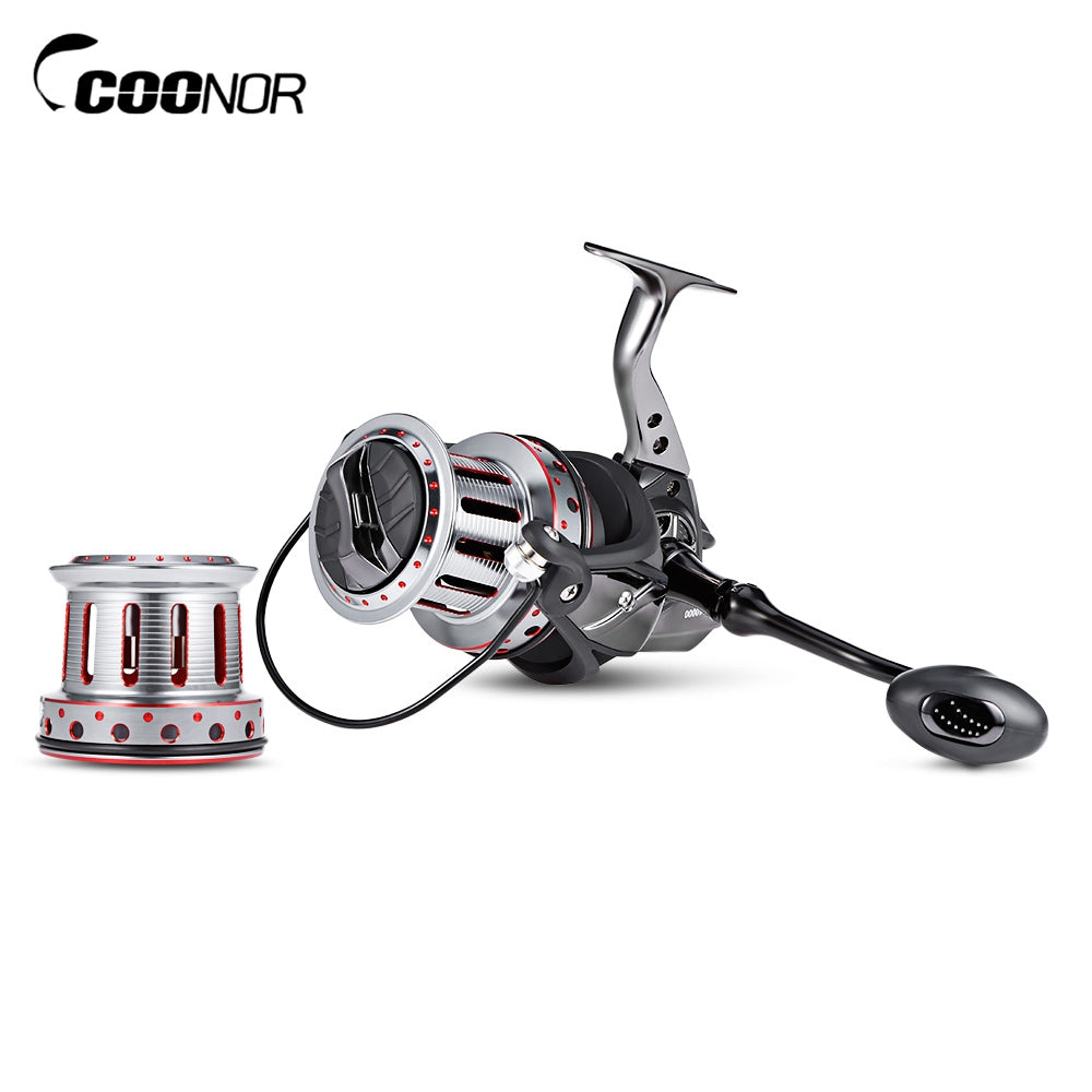 COONOR AFL10000 + 9000 11 + 1BB Big Metal Fishing Spinning Reel with Double Wire CupSILVER AND BLACK