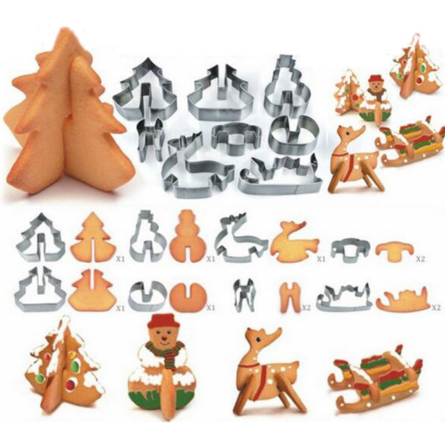 Coupcou.com: Hoard 8PCS 3D Christmas Scenario Cookie Cutter Mold Set Stainless Steel Fondant Cake Mould