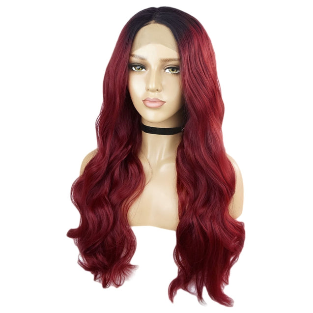 Coupcou.com: Long Middle Part Ombre Wavy Lace Front Synthetic Wig