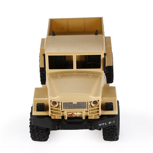 Coupcou.com: WPL B - 1 1:16 Mini Off-road RC Military Truck RTR Four-wheel Drive / Metal Suspension Beam / Bright LED Light