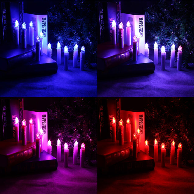 Coupcou.com: 10PCS CK01 - WM1007B Flameless LED Taper Candle Nights Light Warm White with Remote Control for Christmas Decor