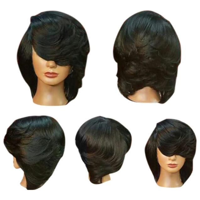 Coupcou.com: Short Side Bang Straight Flip Feathered Bob Synthetic Wig