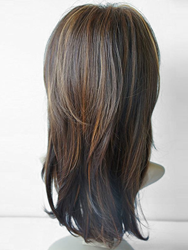 Coupcou.com: Long Side Bang Highlighted Natural Straight Synthetic Wig