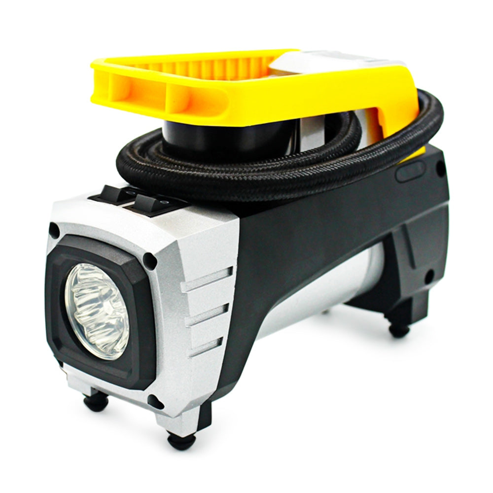 AP2836 Car Tire Inflator 12V 120W Pointer Table Portable Air Compressor Pump for Motorcycle BicycleYELLOW AND BLACK
