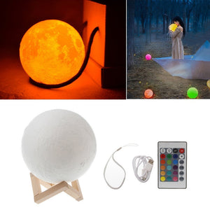 Coupcou.com: KWB 3D Printing Moon Lamp Night light  Brightness Color Changing LED Night Light USB Charging With Remote Control