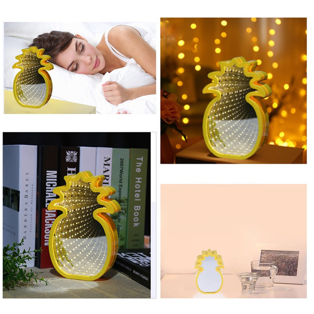 Coupcou.com: Creative Pineapple Shaped Infinity Mirror Light LED Tunnel Lamp