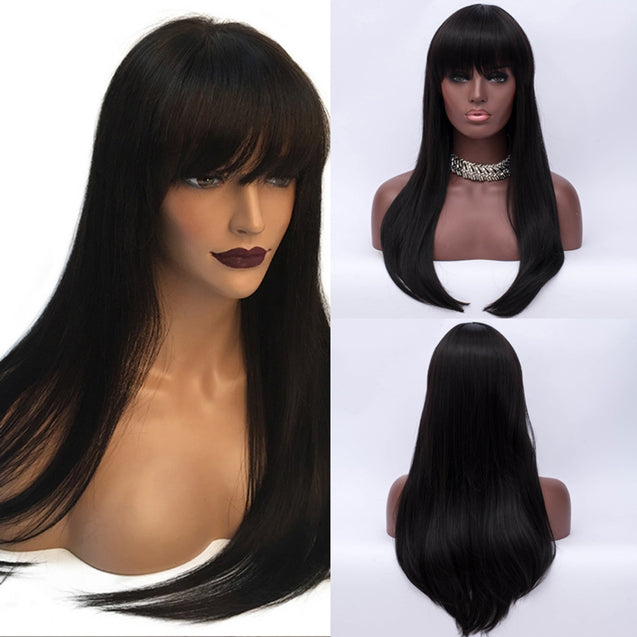 Coupcou.com: Adiors Long Full Bang Glossy Straight Synthetic Wig