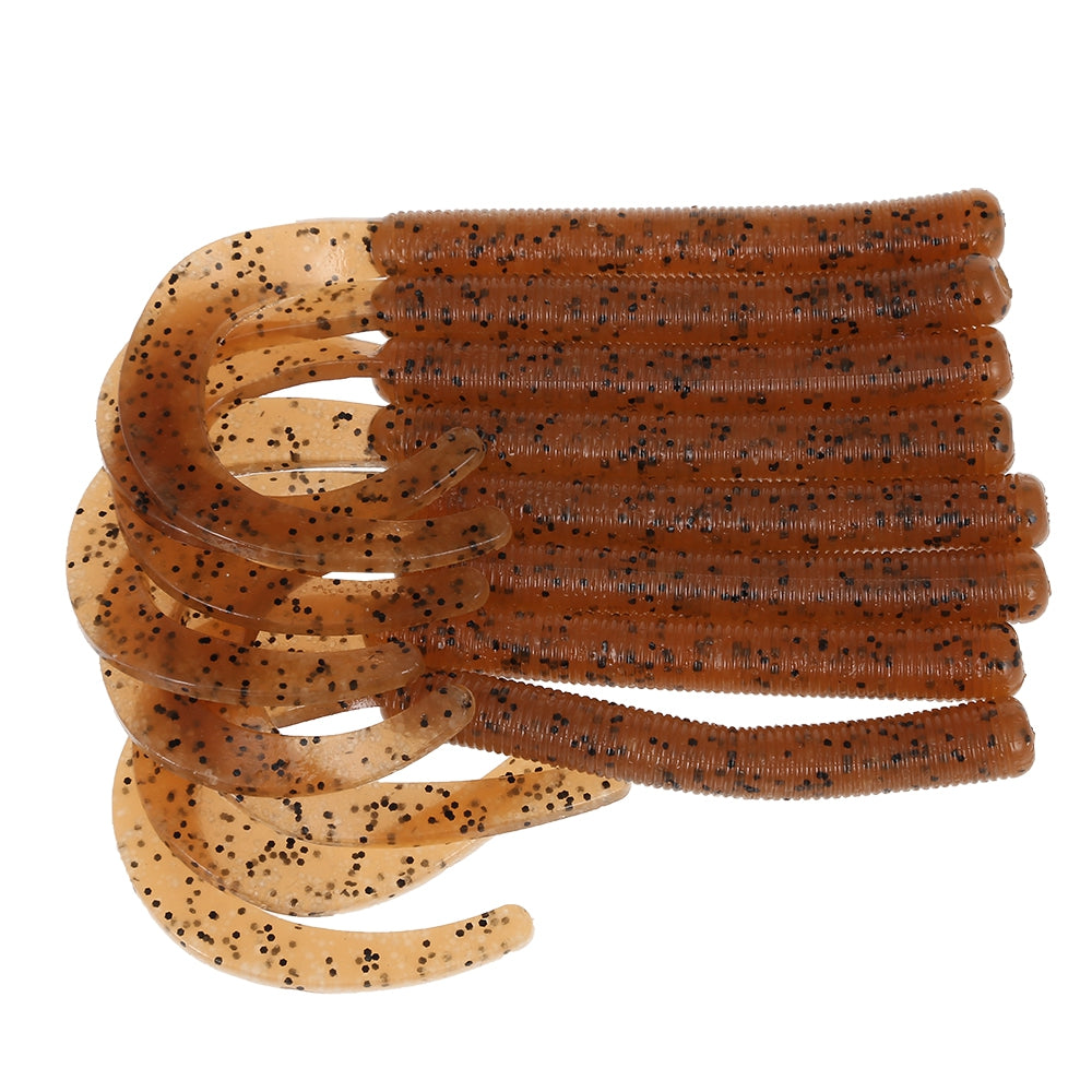 A FISH LURE Knife Tail Soft Worm Fishing Lures Simulation Baits 8pcsBROWN