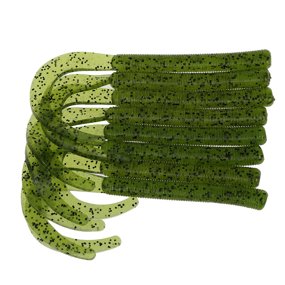 A FISH LURE Knife Tail Soft Worm Fishing Lures Simulation Baits 8pcsCLOVER GREEN