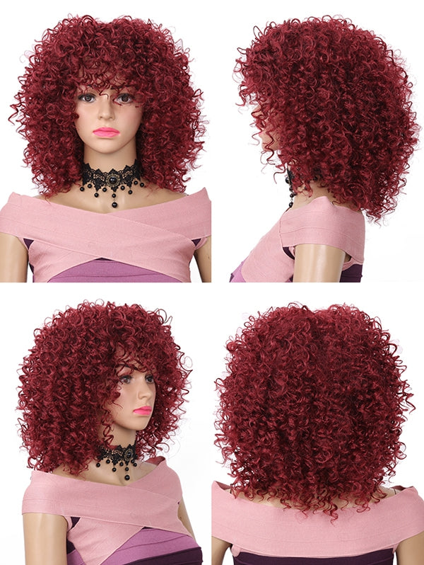 Coupcou.com: Medium Full Bang Fluffy Kinky Curly Synthetic Wig