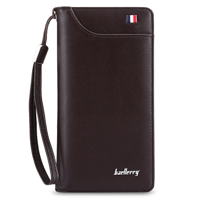 Coupcou.com: Baellerry Multifunctional Men Wallet PU Leather Handbag with Metal Zipper