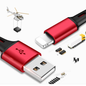 Coupcou.com: 3 in 1 Nylon Braided USB Charge Cable Micro USB + 8 Pin + Type C