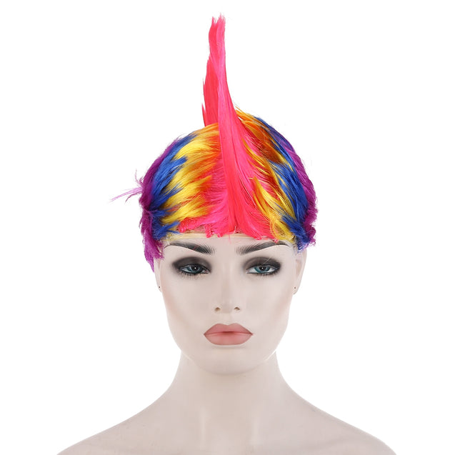 Coupcou.com: Groovy Rainbow Mohawk Wig Fans Hair Party Cosplay Adornment