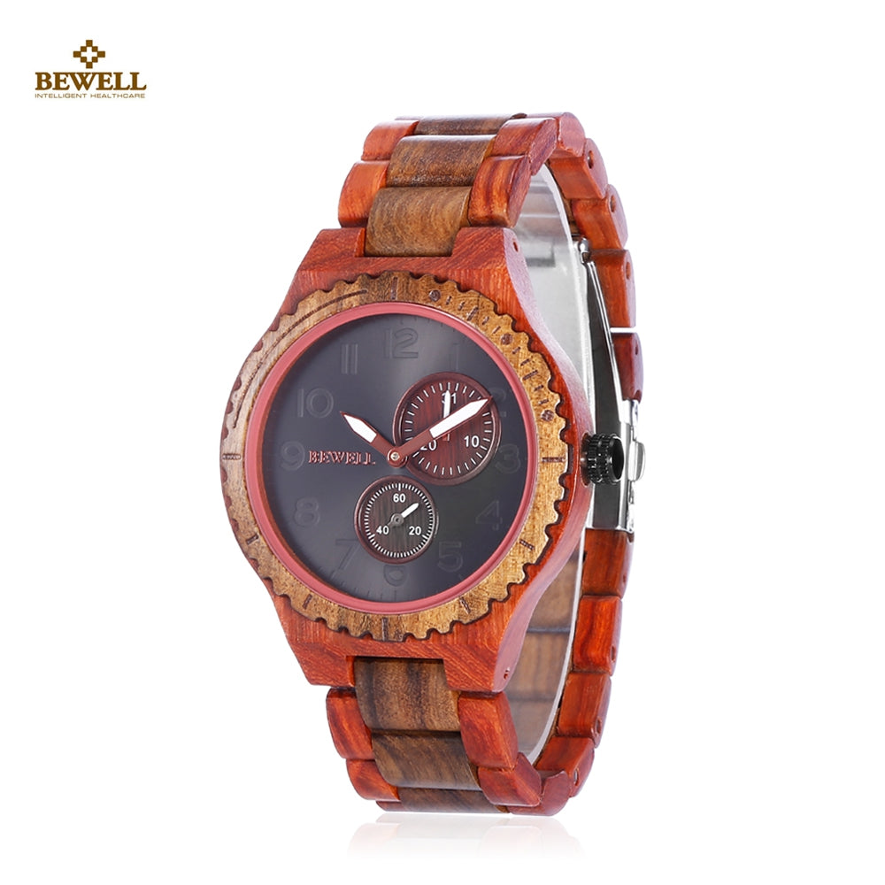 BEWELL ZS - W154A Male Wooden Watch Date Luminous PointerRED