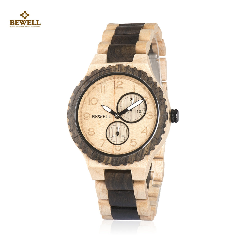 BEWELL ZS - W154A Male Wooden Watch Date Luminous PointerBLACK