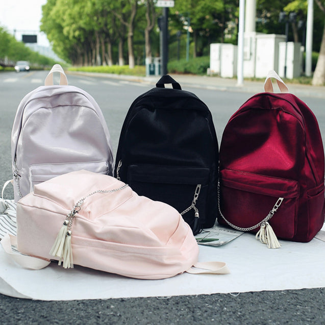 Coupcou.com: Guapabien Large Capacity Lightweight Leisure Style Backpack Handbag Tassel Bag with Chain Accessory for Lady