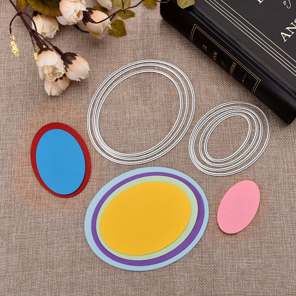 DIY Ellipse Pattern Metal Cutting Dies Set for Greeting Card Cover Photo Album