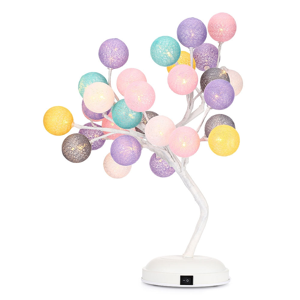 DCHDC Woven Ball Tree Branches Night Light Indoor DecorationWARM WHITE