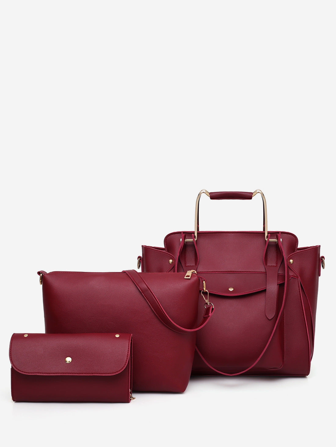 3 Pieces Large Capacity Travel Tote Bag SetRED WINE