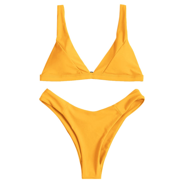 Coupcou.com: Plunge Neck Padded High Cut Bikini Set