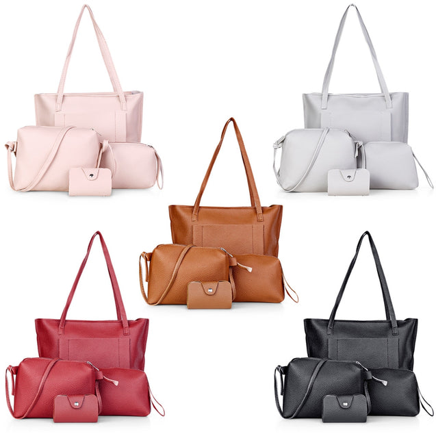 Coupcou.com: Guapabien 4pcs Women Shoulder Tote PU Leather Composite Bag Wristlet Card Holder