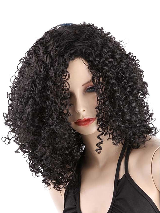 Coupcou.com: Medium Side Bang Kinky Curly Synthetic Wig