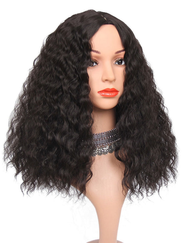 Coupcou.com: Long Center Parting Corn Hot Wavy Synthetic Wig