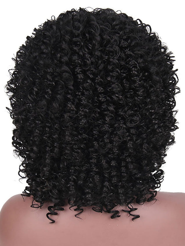 Coupcou.com: Medium Neat Bang Afro Kinky Curly Synthetic Wig