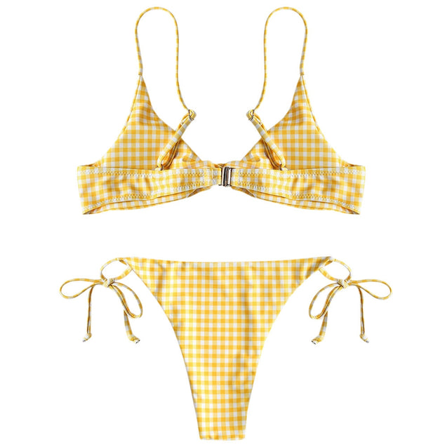 Coupcou.com: Gingham Twist Padded Women Bathing Suit