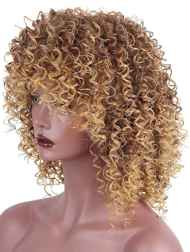 Coupcou.com: Medium Side Bang Shaggy Colormix Afro Kinky Curly Synthetic Wig