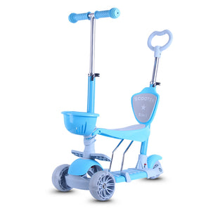 Coupcou.com: HZ88C 3 Wheel Kick Scooters with Removable Seat Adjustable Height for Kids