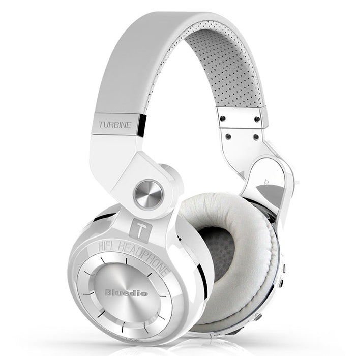 Bluedio T2S Rotary Folding Bluetooth Headset Wireless Over-ear Headphone with MicrophoneWHITE