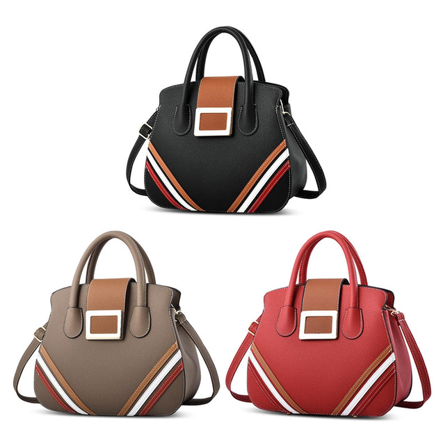 Coupcou.com: PU Leather Shoulder Bag Contrast Color Handbag for Women