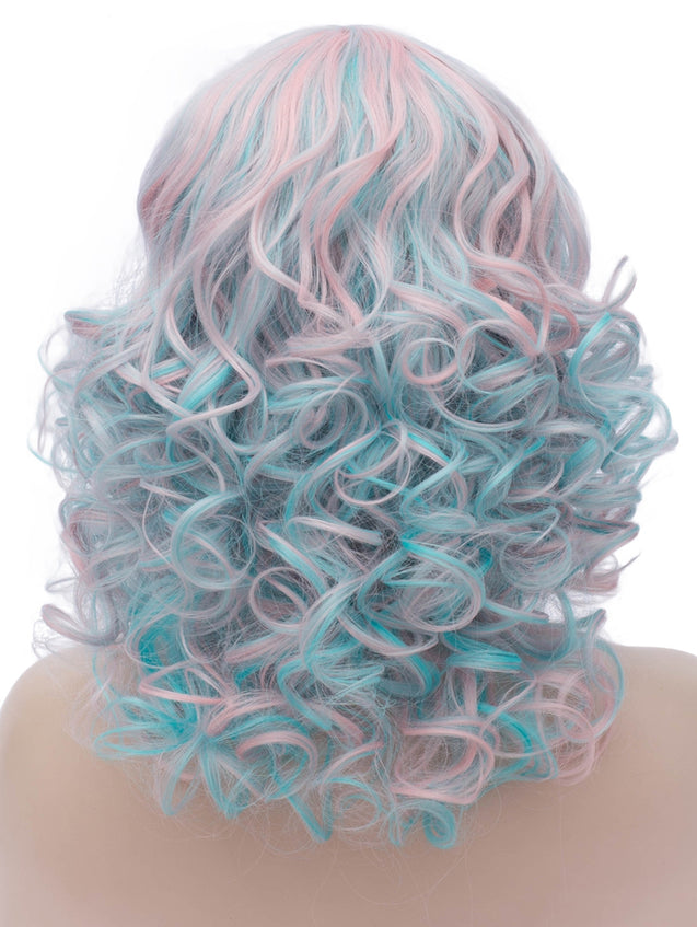 Coupcou.com: Medium Side Bang Colorful Curly Party Synthetic Wig