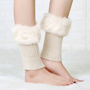Coupcou.com: Faux Fur Knit Solid Color Boot Cuffs Socks Women Leg Warmers