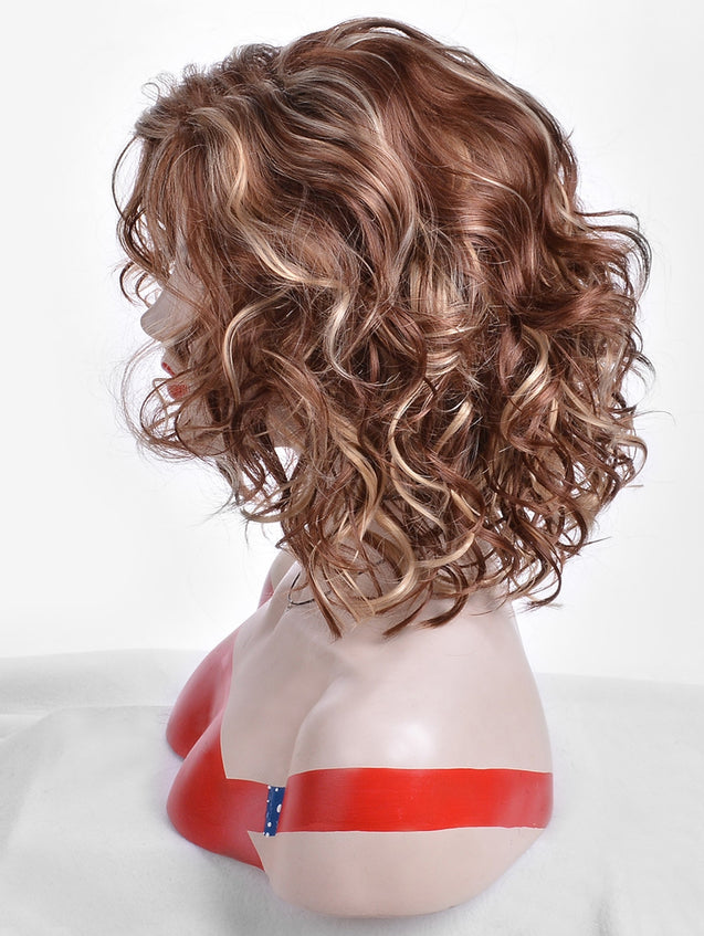 Coupcou.com: Medium Side Bang Synthetic Colormix Curly Wig