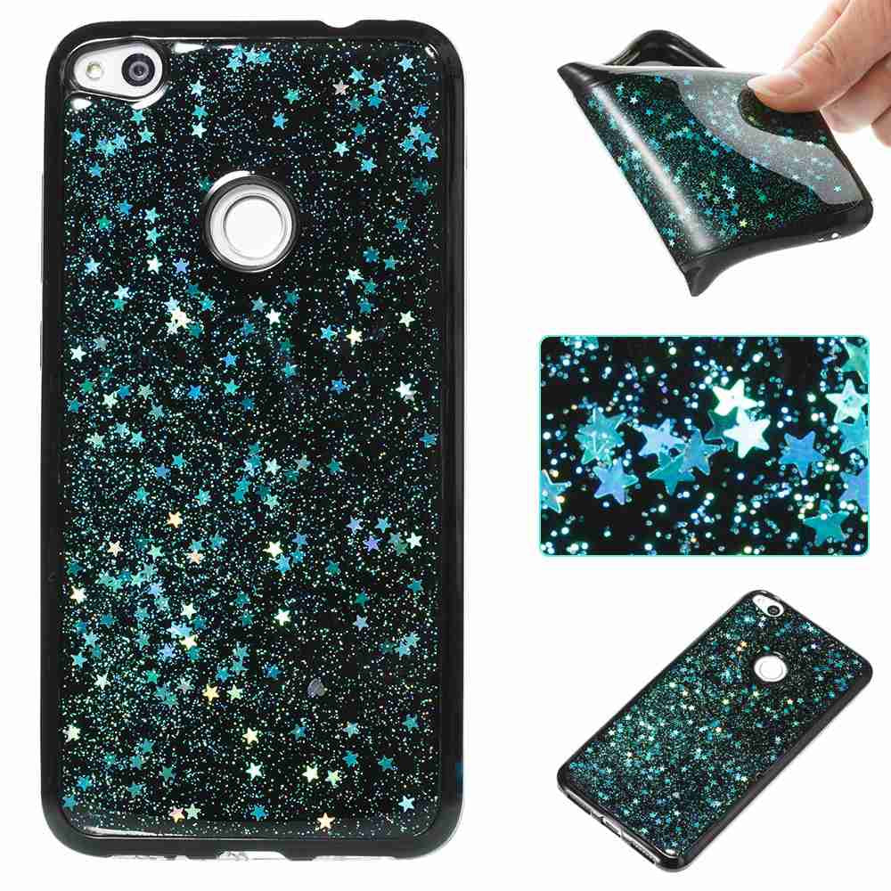 Black Five-Pointed Star Painted Tpu Phone Case for Huawei P8 Lite 2017BLUE GREEN