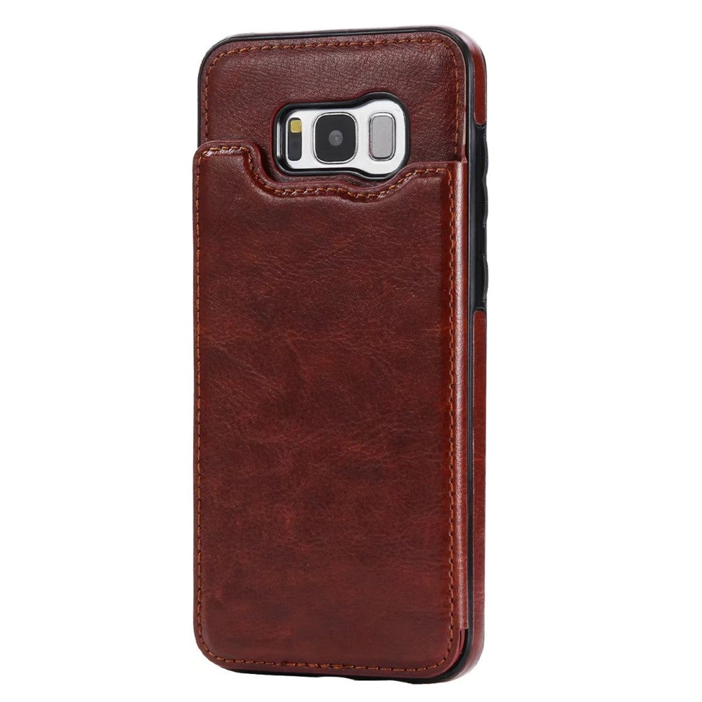Case for Samsung Galaxy S8 Card Holder with Stand Back Cover Solid Color Hard PU LeatherBROWN