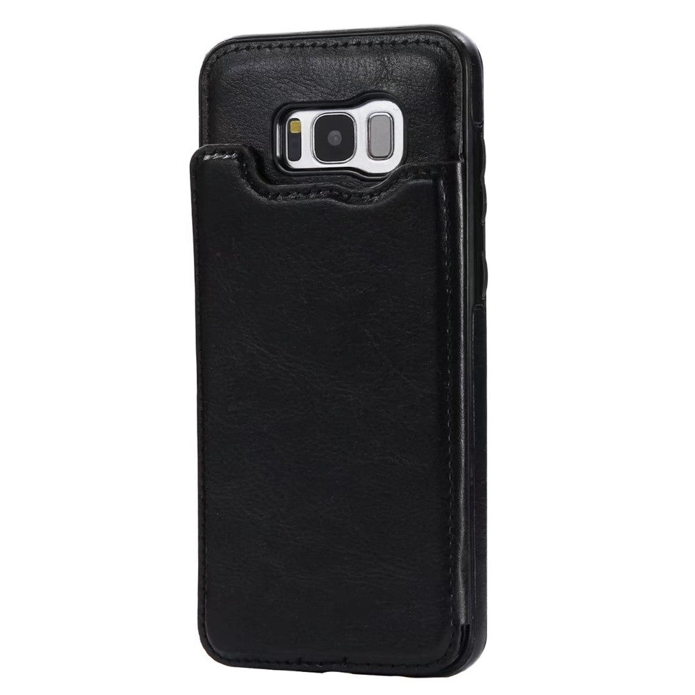 Case for Samsung Galaxy S8 Card Holder with Stand Back Cover Solid Color Hard PU LeatherBLACK