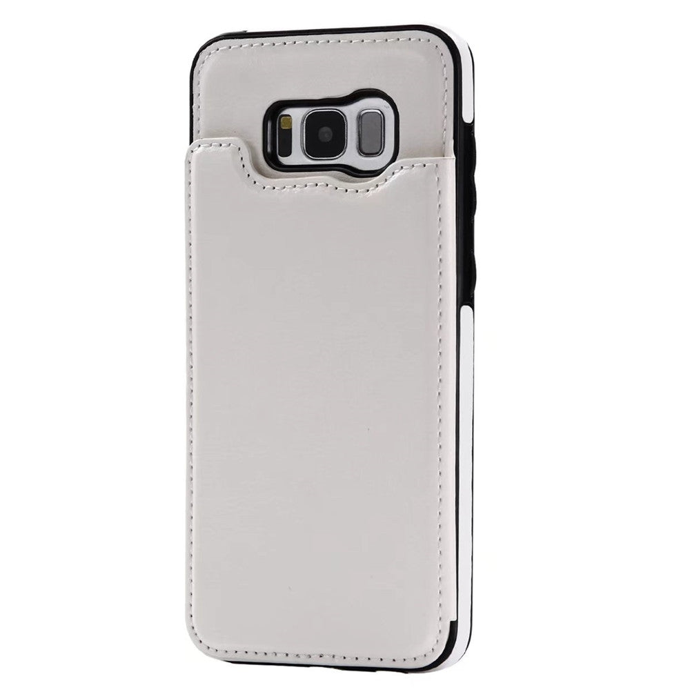 Case for Samsung Galaxy S8 Card Holder with Stand Back Cover Solid Color Hard PU LeatherWHITE