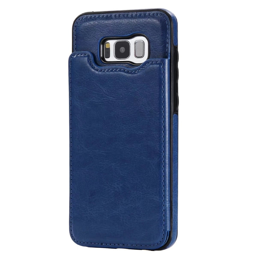 Case for Samsung Galaxy S8 Card Holder with Stand Back Cover Solid Color Hard PU LeatherDEEP BLUE