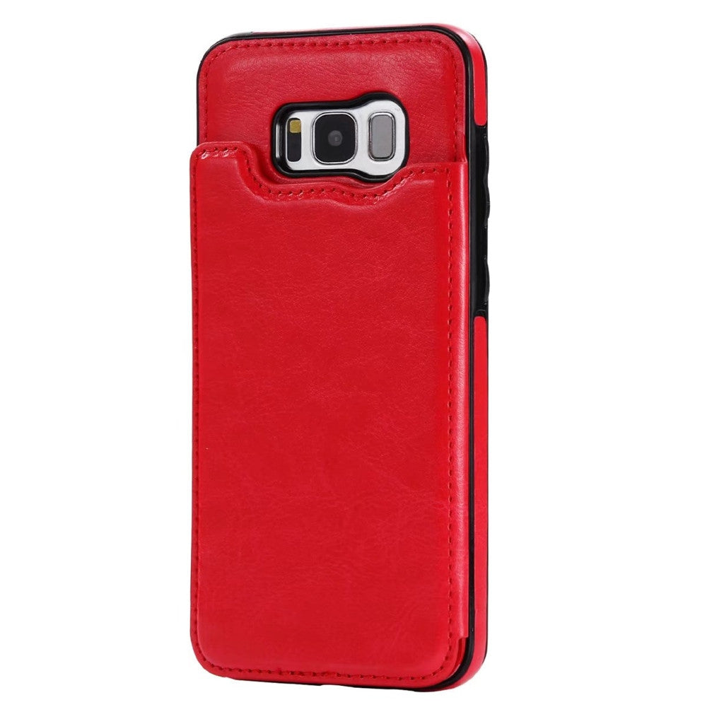 Case for Samsung Galaxy S8 Card Holder with Stand Back Cover Solid Color Hard PU LeatherRED